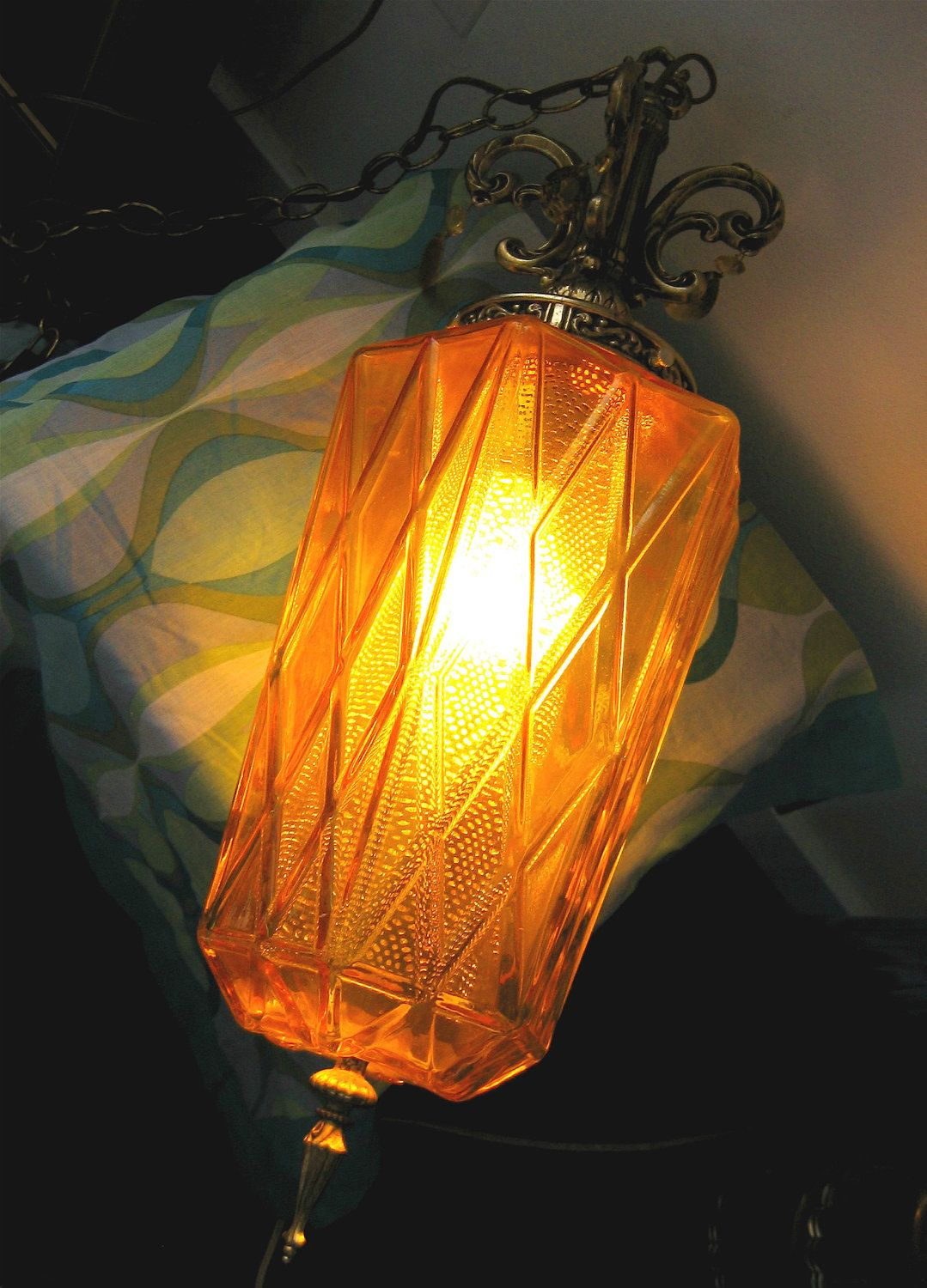 Gold Hanging Glass Swag Lamp. Vintage 1960. Hollywood
