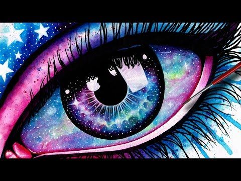 Starry Eye - Watercolor Galaxy Eye Painting Timelapse by Carissa Rose