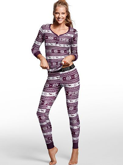 08f7f181cfcdc PINK Thermal Sleep Henley (Black Orchid/Holiday Fair Isle P43 ...