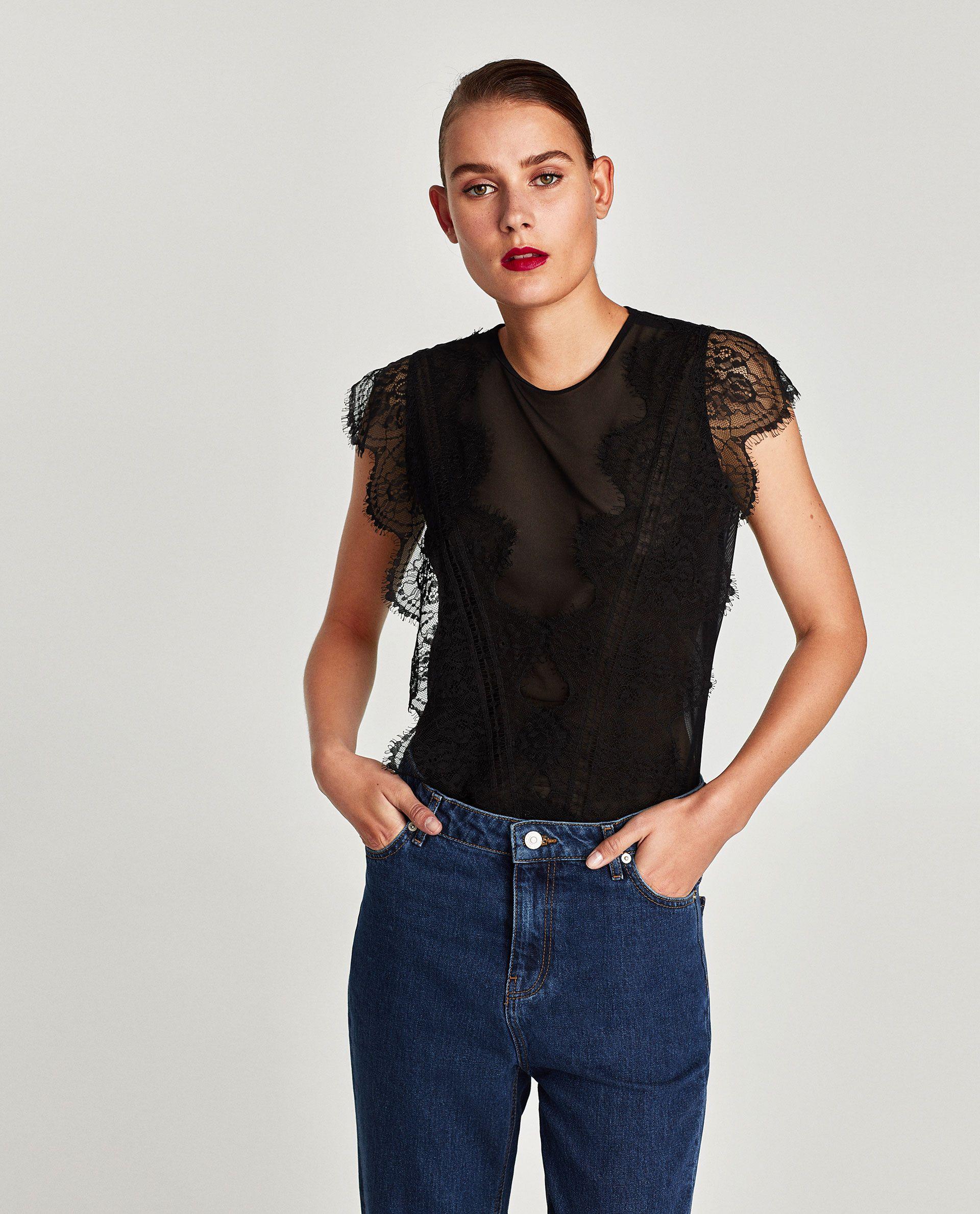 Lace bodysuit with jeans  TULLE AND LACE BODYSUIT  costume  Pinterest  Bodysuit