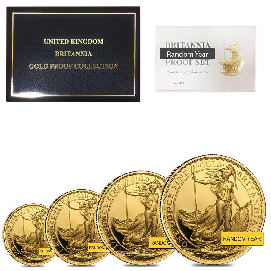 1 85 Oz Gold Britannia 4 Coin Proof Set Random Year Bullion Bullionexchanges Preciousmetals Invest Stac Gold Bullion Coins Silver Investing Gold Bullion