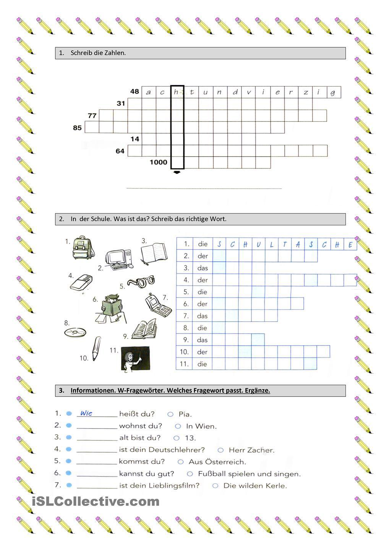 Wiederholung Zahlen Schulsachen W-Fragewörter   Arbeitsblätter ...