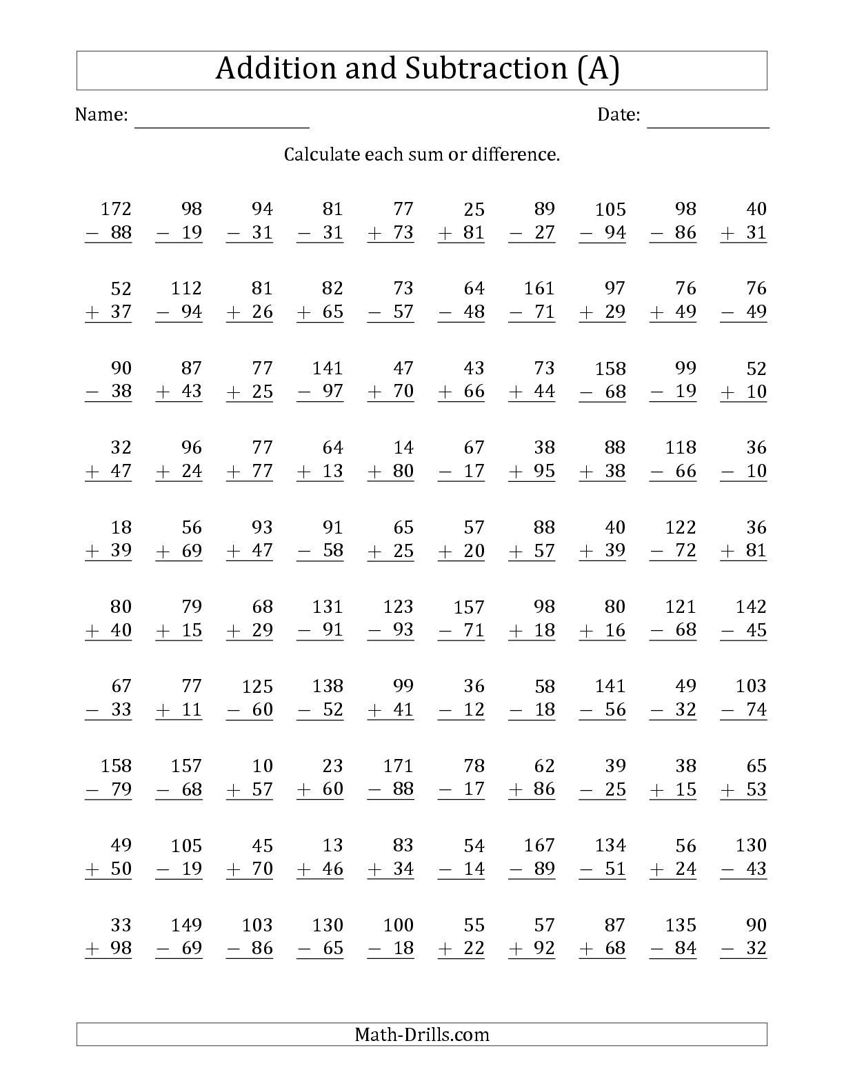 The 100 Two Digit Addition And Subtraction Questions With
