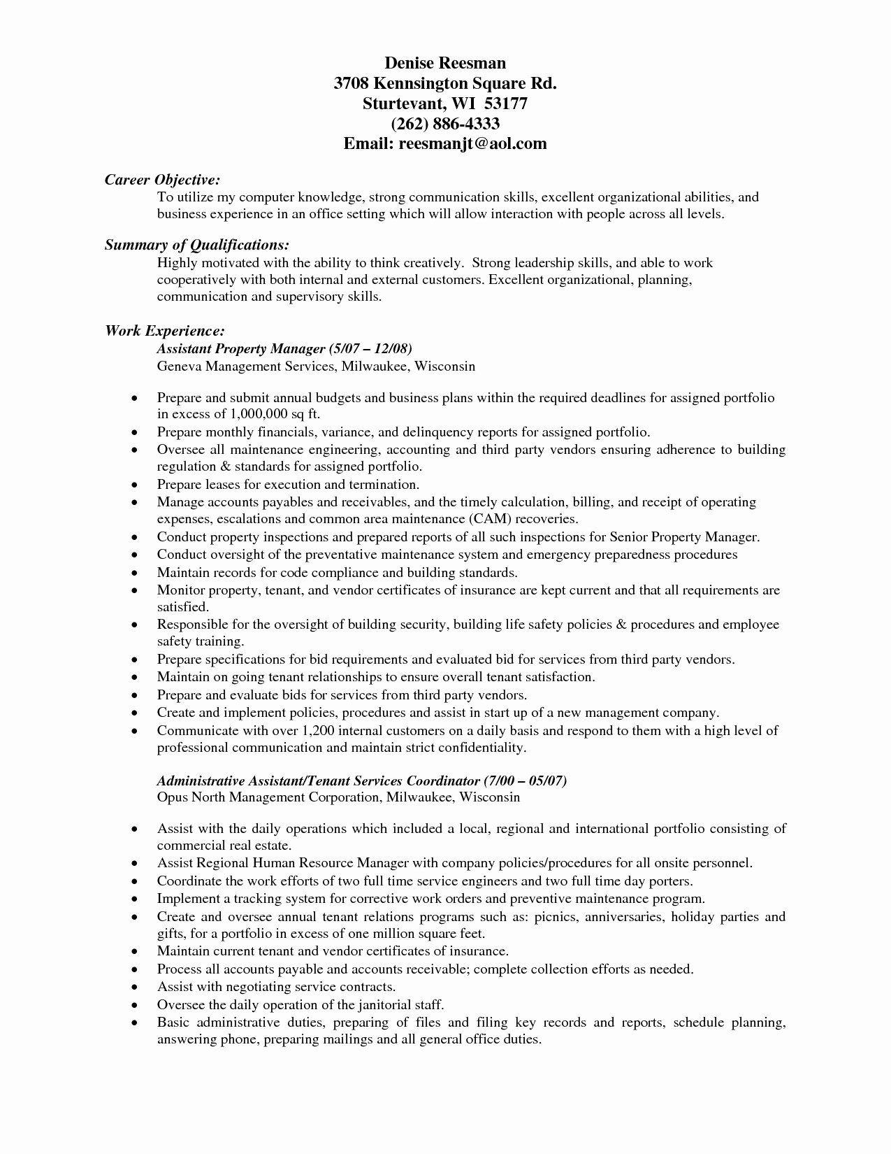 Assistant Property Manager Resume Elegant Property Manager Resume Objective