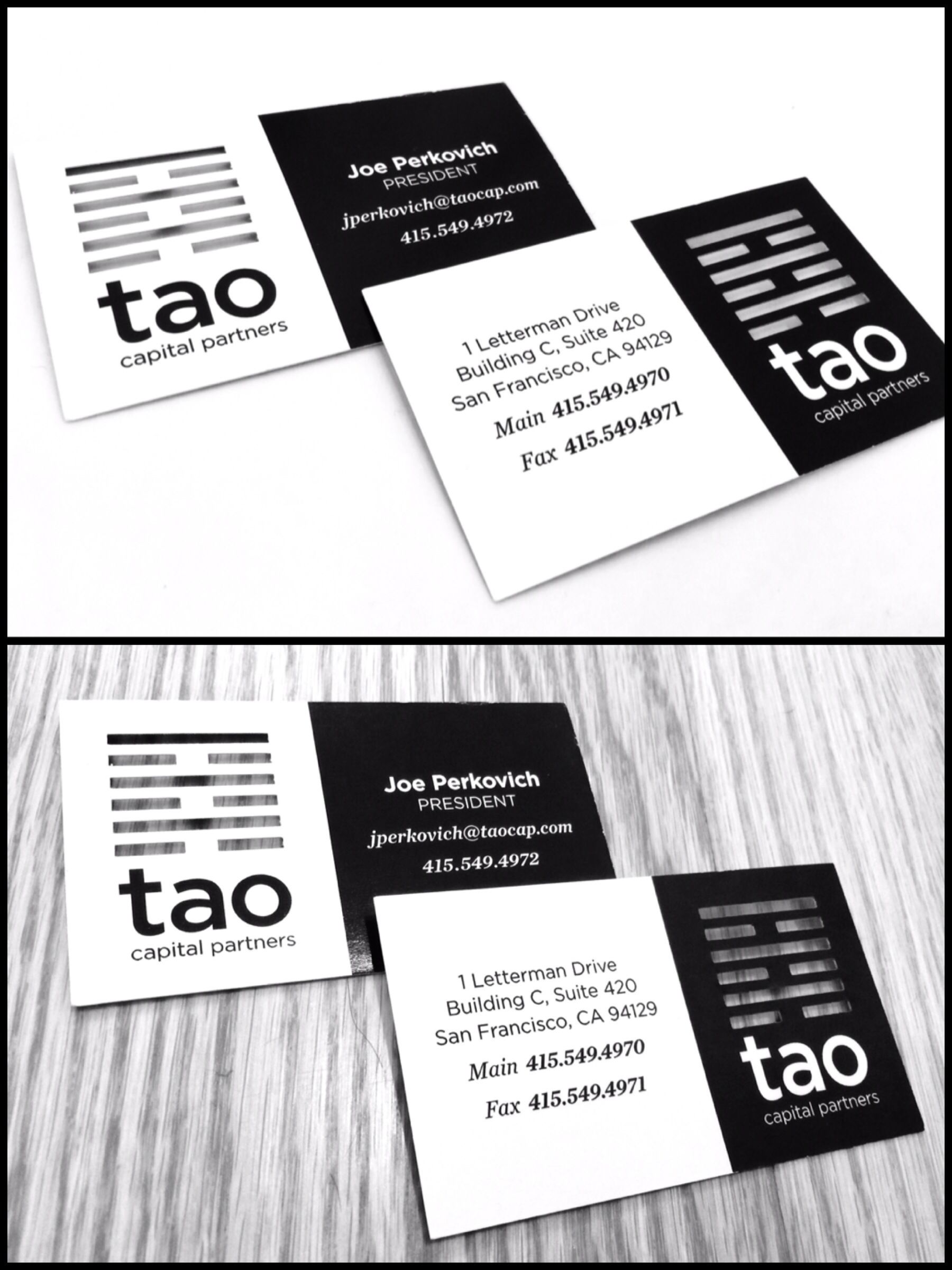 Custom laser die cut business cards :: TAO Capital Partners :: 64th ...