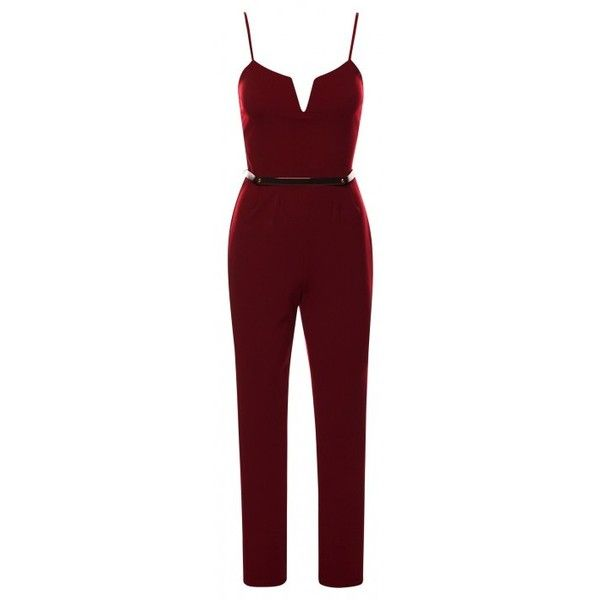 9458dc69016 Rihanna Celebrity Inspired Wine Belted Sleeveless Bodycon Jumpsuit ( 14) ❤  liked on Polyvore featuring jumpsuits