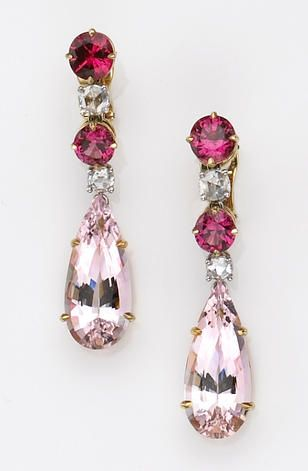 A pair of morganite, spinel, diamond, platinum and eighteen karat gold earrings the day-night earrings featuring detachable prong set pear-shaped morganites weighing a total of 16.70 carats, surmounted by alternating circular-cut spinels weighing a total of 5.29 carats, and accented by rose-cut diamonds.