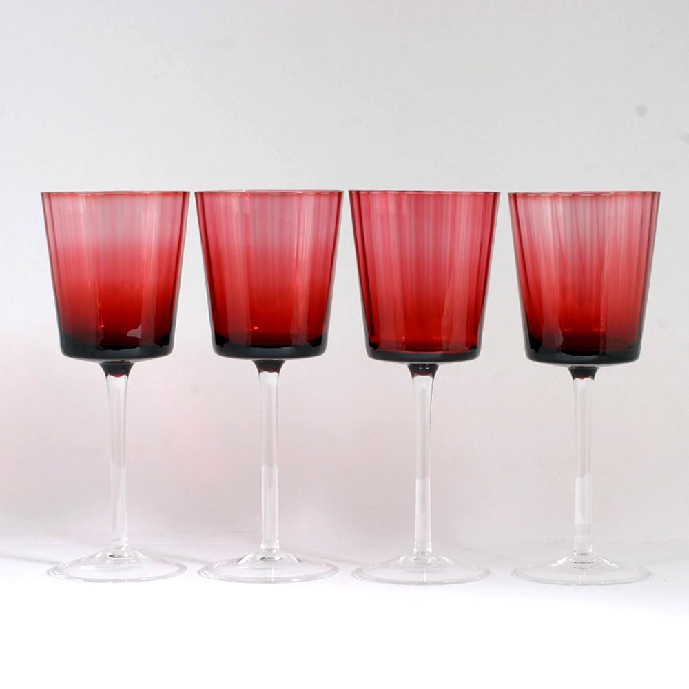Ruby Red Crystal Wine Glasses Set Of 4 Vintage Panel Optic Goblets Cranberry From Catisfaction S Glass Galler Crystal Wine Glasses Cranberry Glass Red Crystals