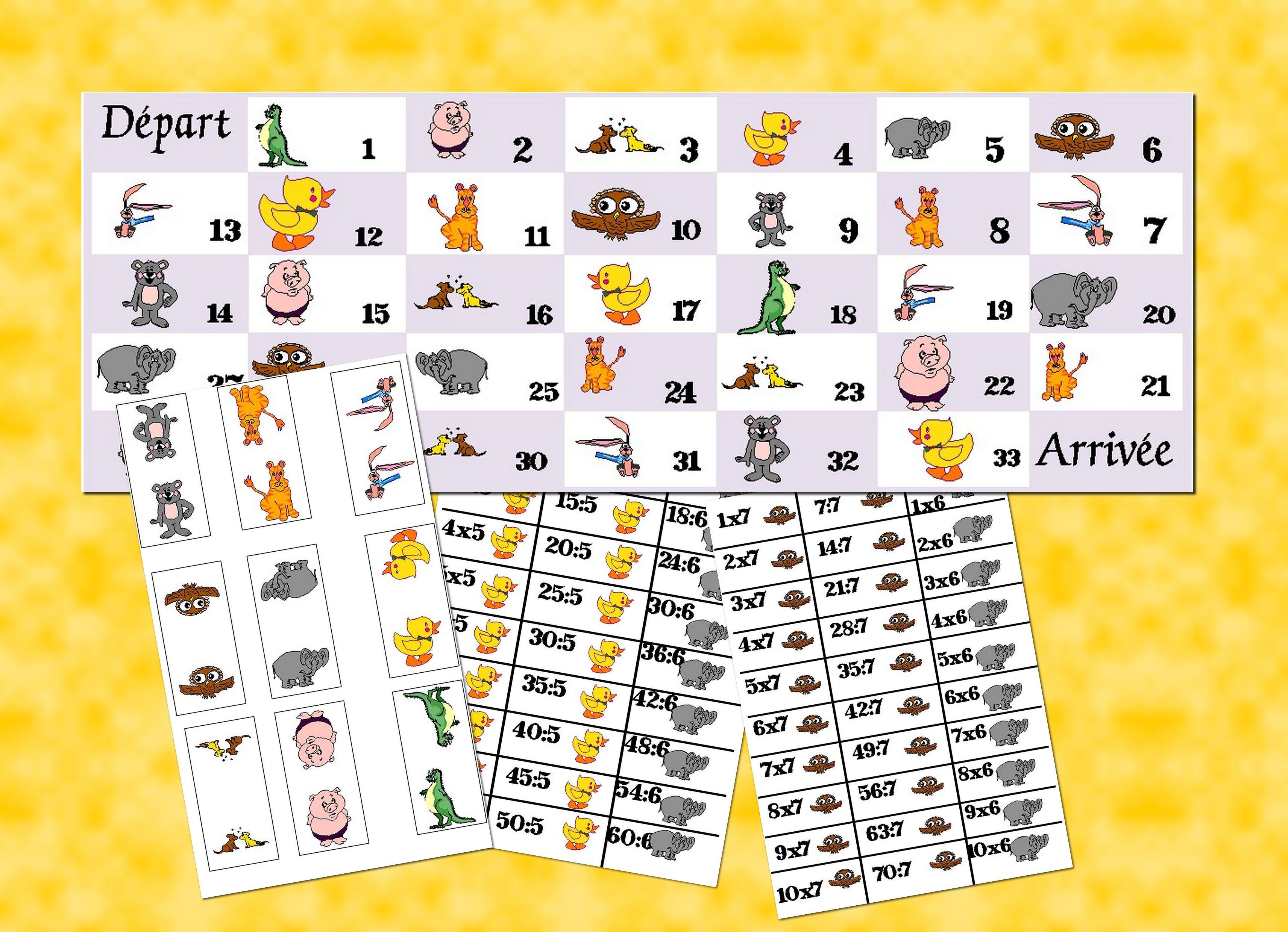 Jeu de l 39 oie les tables de multiplication et de division avec les animaux pinterest table - Table de multiplication jeu ...