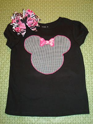 Minnie Mouse shirt and matching hair bow