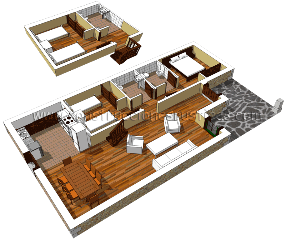 3d de distribuci n de casa r stica de piedra con bajo for Distribucion de casas modernas