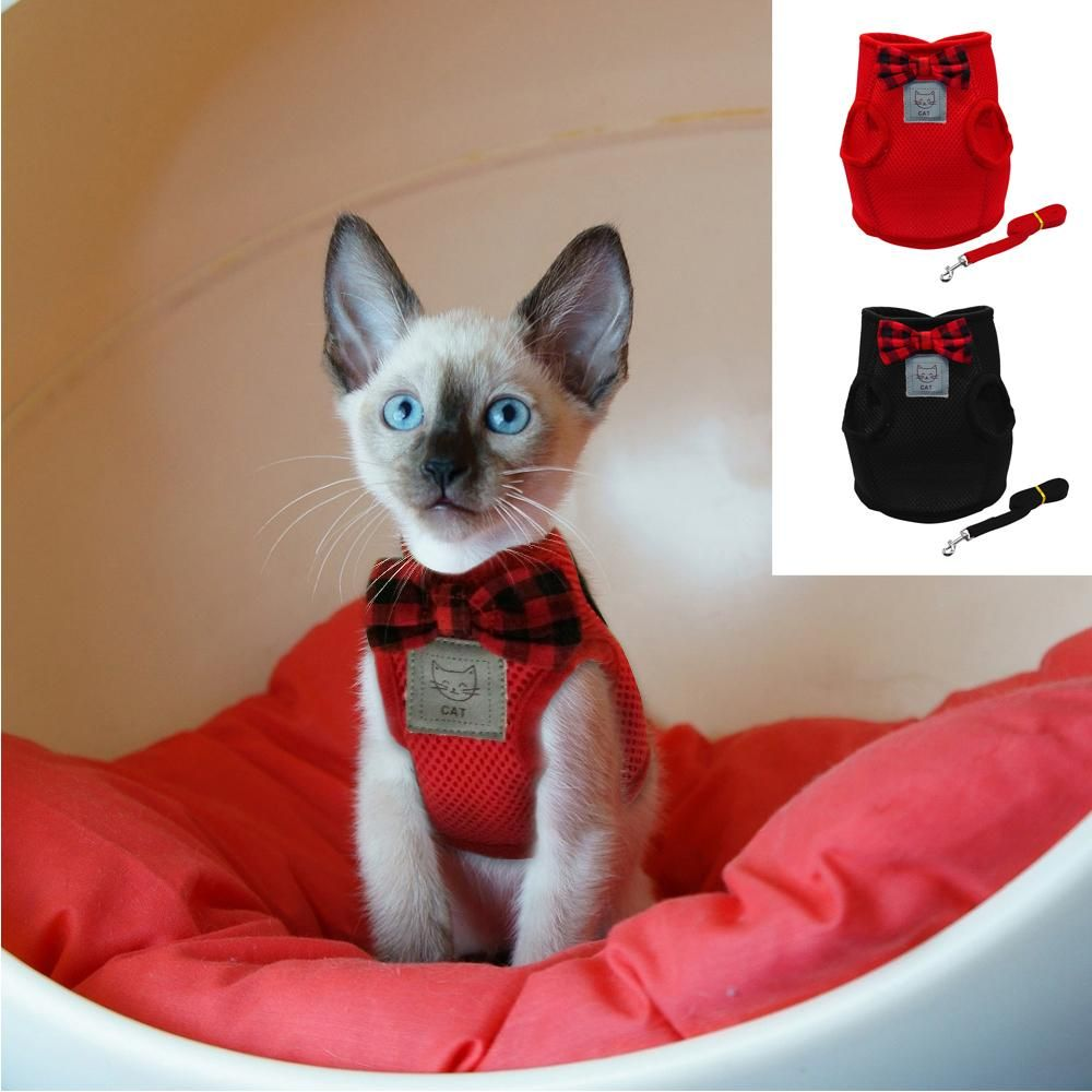 Mesh Bowtie Cat Pet Kitten Harness Leash Walking Cloth Kitten Clothes Kitten Harness Cat Harness