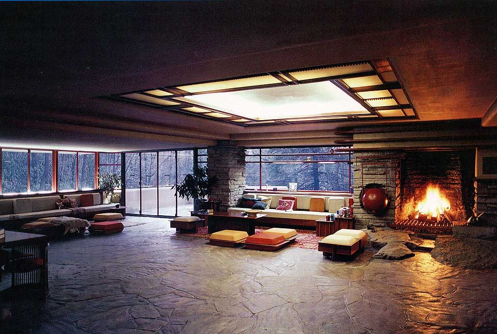 Inside Wright's Kaufmann House (Fallingwater), Bear Run ...