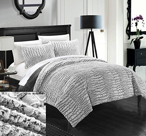 Charmant Chic Home 7 Piece Caimani NEW Faux FUR Collection! With Mink Like Backing  In Caimani Animal Skin Design Queen Comforter Set Grey With White Sheets  Included, ...