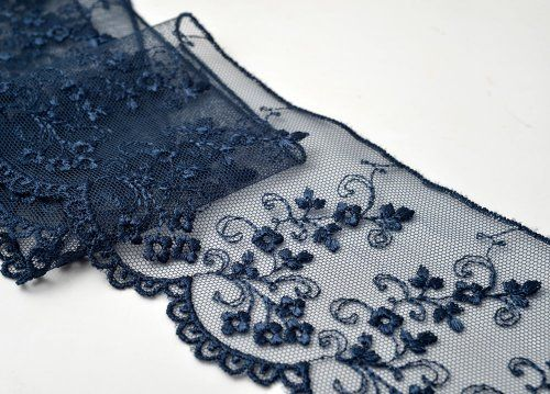 Navy Flower Embroidered Tulle Lace Trim 3 1 4 Inch By 1 Embroidered Flowers Lace Trim Tulle Lace