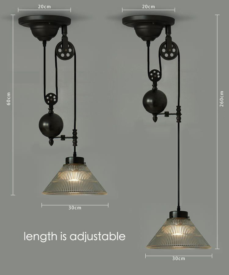 Bennet Ribbed Glass Shade Pulley Pendant Light Pulley Pendant Light Pulley Lamps Indoor Lighting Fixtures