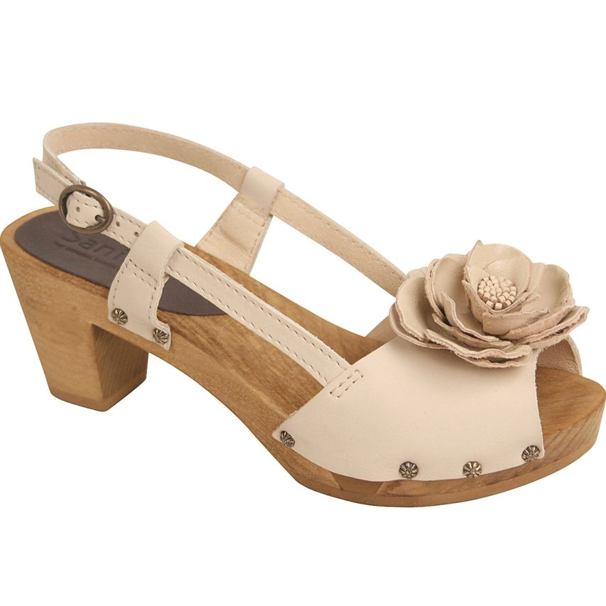 Sanita Crystal in Off White Soft Leather