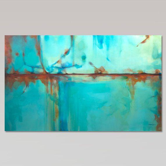 Großen Türkis blau grün und Orange abstrakte Malerei von Artoosh ...