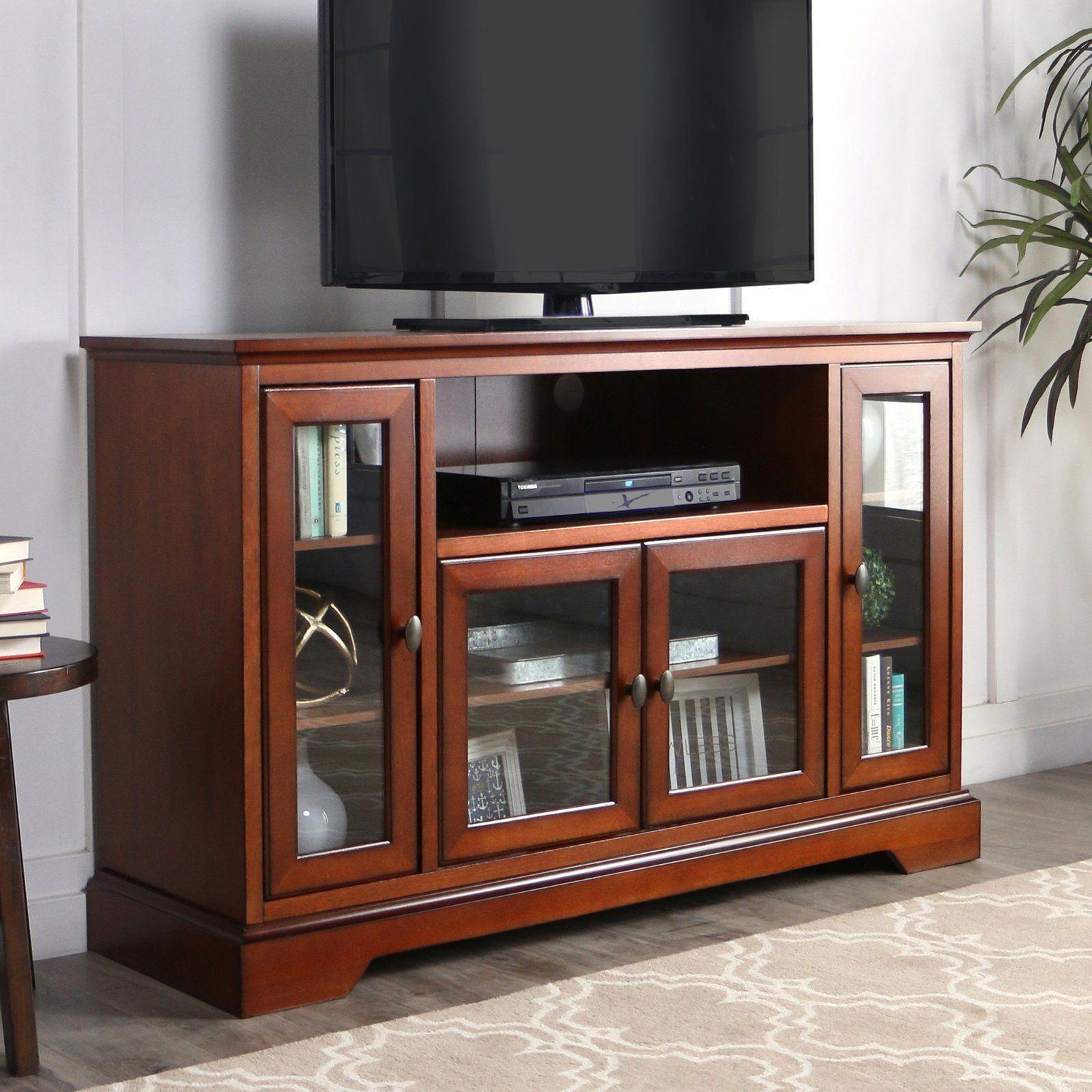 Walker Edison 52 In Highboy Style Brown Wood Tv Stand Hn52c32rb Kitchenfurniturebrown Tv Stand Wood Saracina Home Highboy Tv Stand