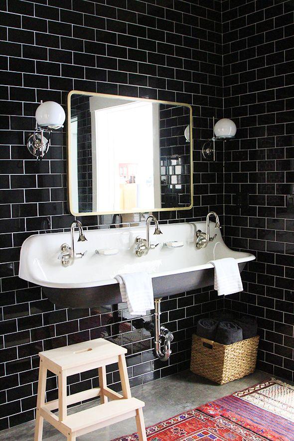Warming Up A Black Tiled Bathroom | Black tile bathrooms, Black ...