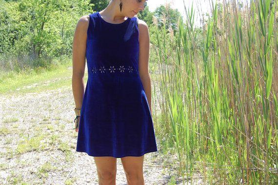 Vintage 90s Electric Blue Velvet Mini Dress by CircleofLoveVintage, $70.00
