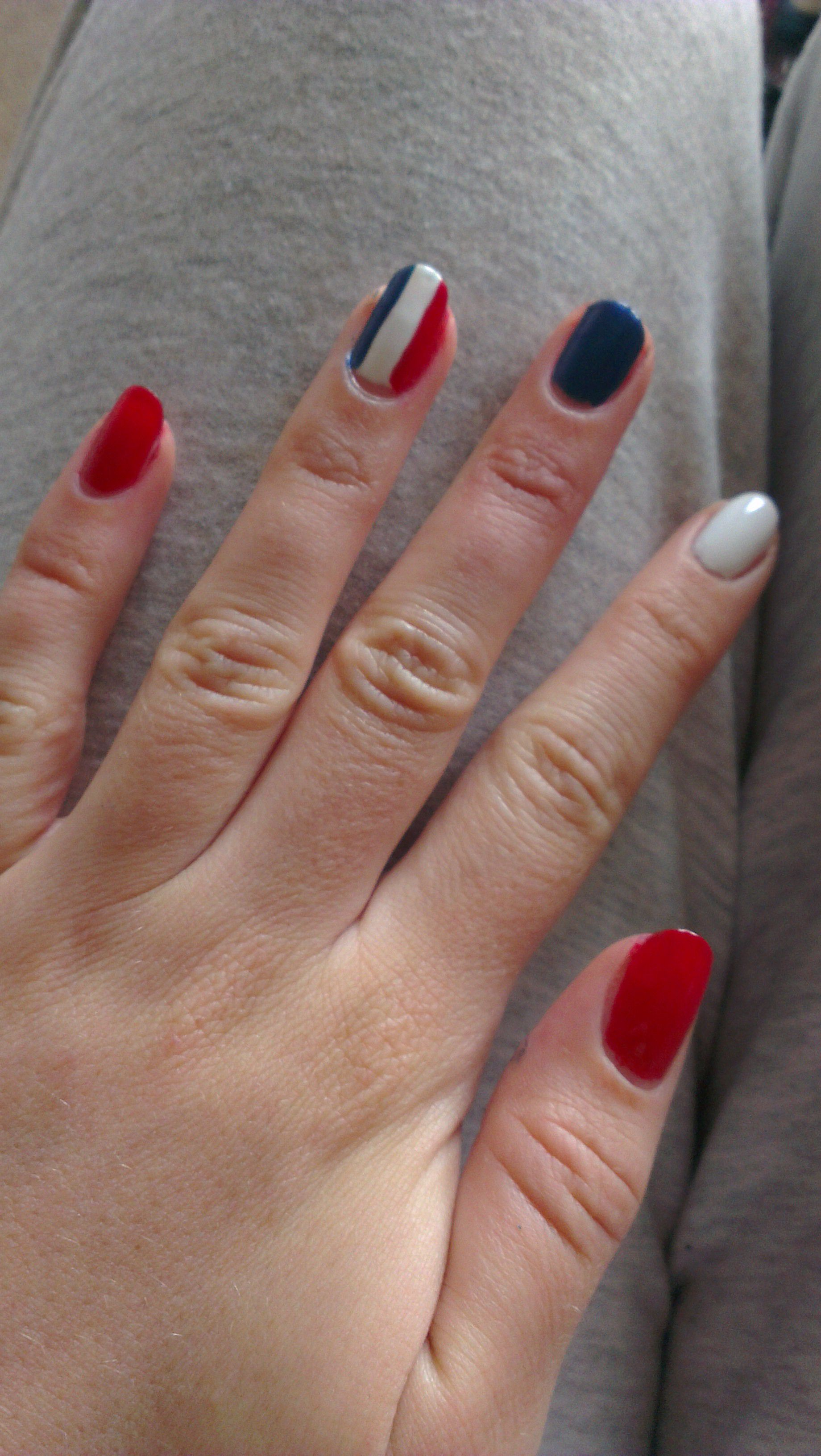 French Flag Themed Nails For A Battle Of Waterloo Event Nails