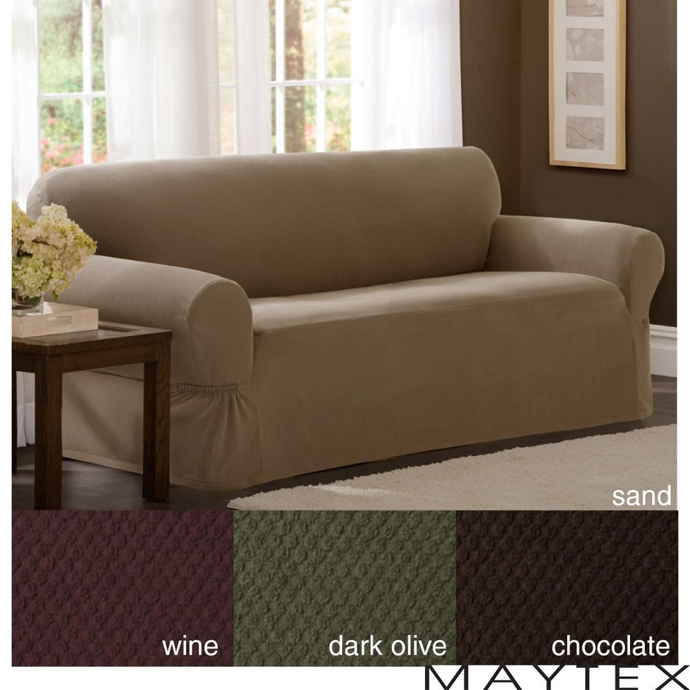 Big Sofa Sand Maytex Stretch Pixel 1 Piece Sofa Slipcover Overstock