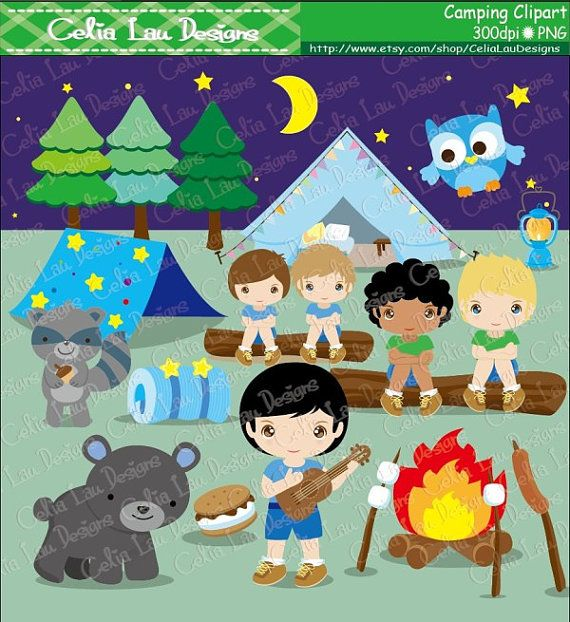 Camping Party Glamping Clip Art Cute Boy And Forest Animal Camp Out Clipart Digital Paper Background Set Includes 22 Graphics 1
