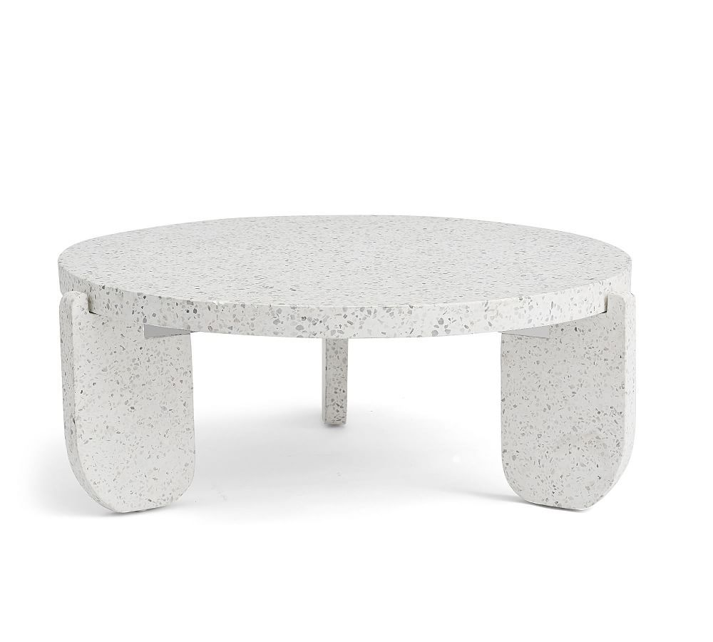 Terrazzo Round Coffee Table White In 2020 Drum Coffee Table Round Coffee Table Stone Coffee Table
