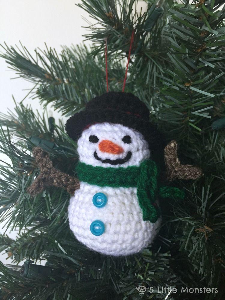 Crocheted Snowman Ornament | Schneemann, Weihnachten und Handarbeiten