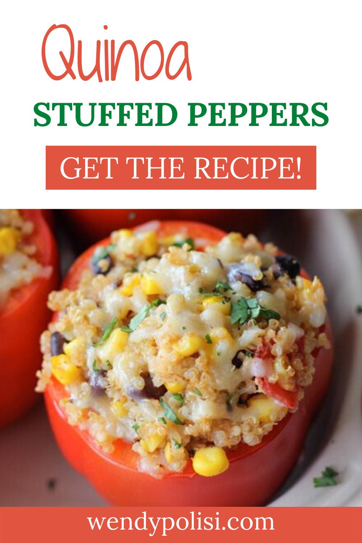 Quinoa Stuffed Peppers Recipe Gluten Free Vegetarian Wendy Polisi Recipe In 2020 Quinoa Recipes Easy Stuffed Peppers Vegetarian Recipes