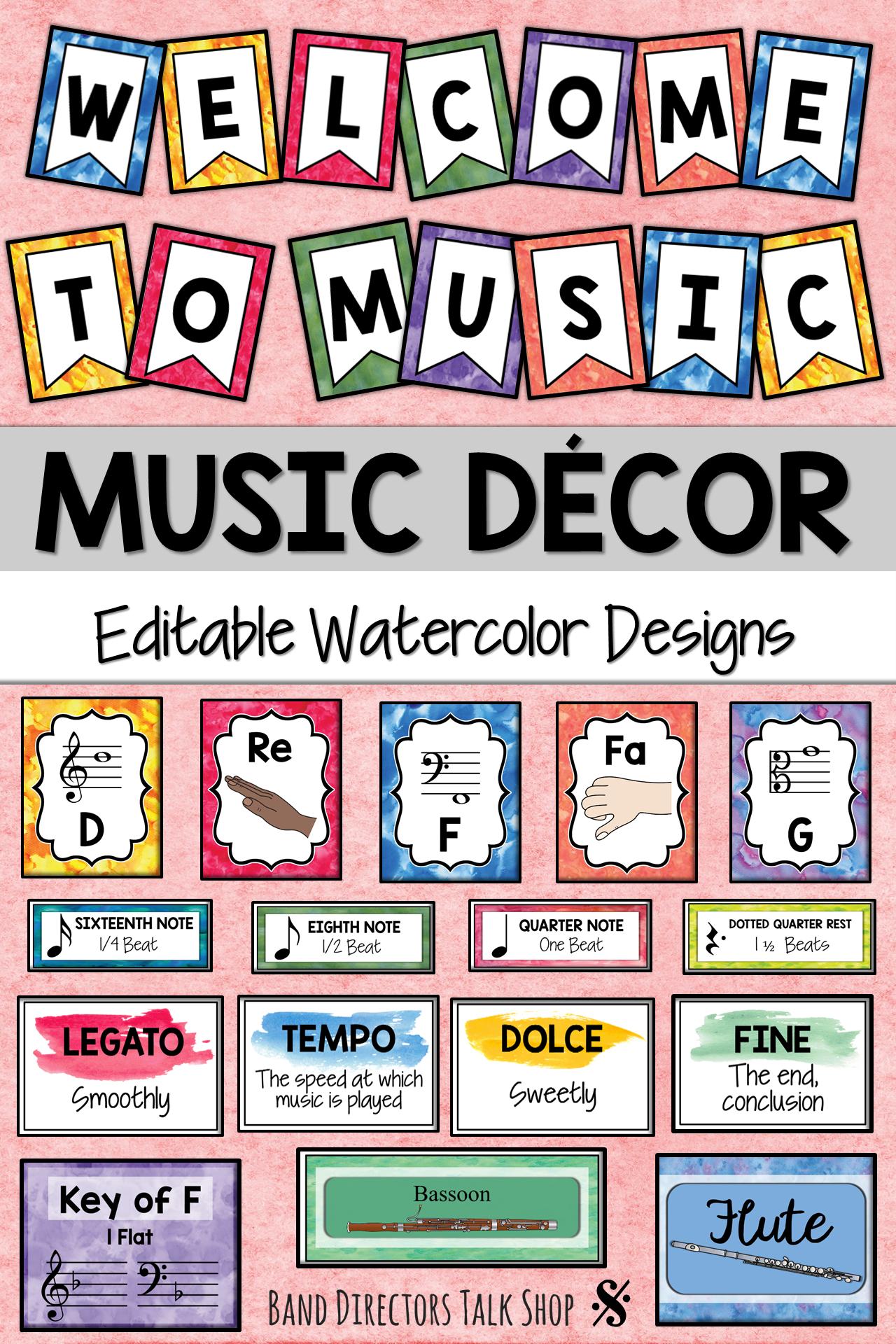 Music Bulletin Board BUNDLE: Editable Watercolor Music Decor #musicdecor