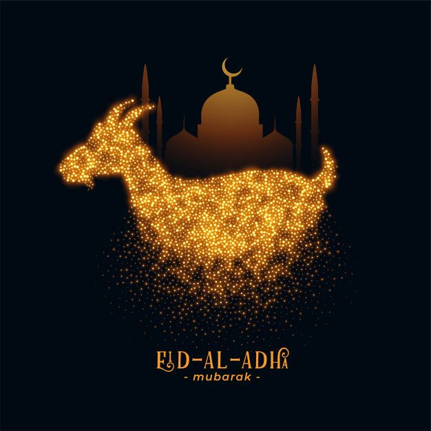 Download Eid Al Adha Greeting With Goat And Mosque For Free Ilustrasi Fantasi Kolase Foto Gambar