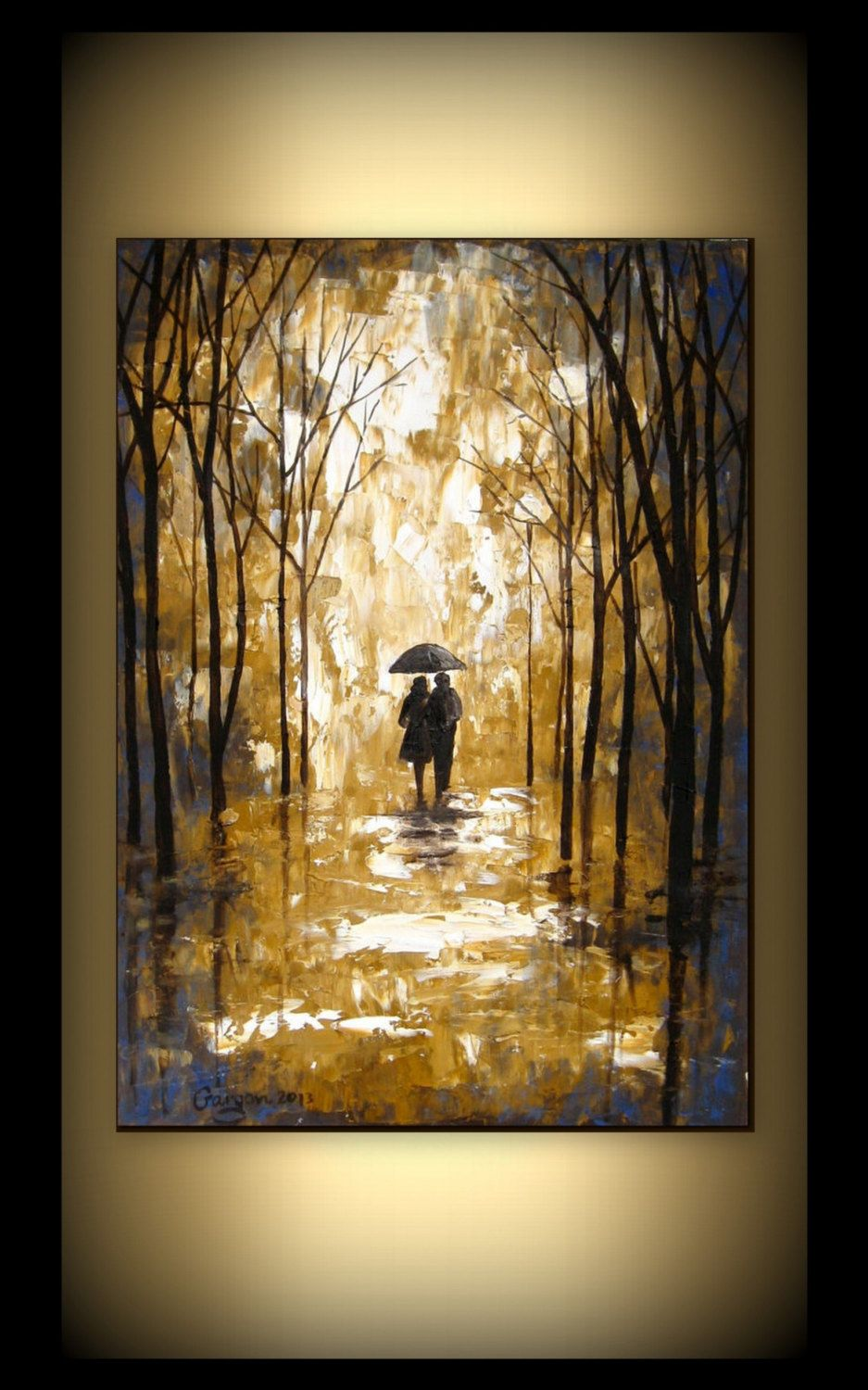 Large Original Oil Painting- Palette Knife- Couple In The Rain ...