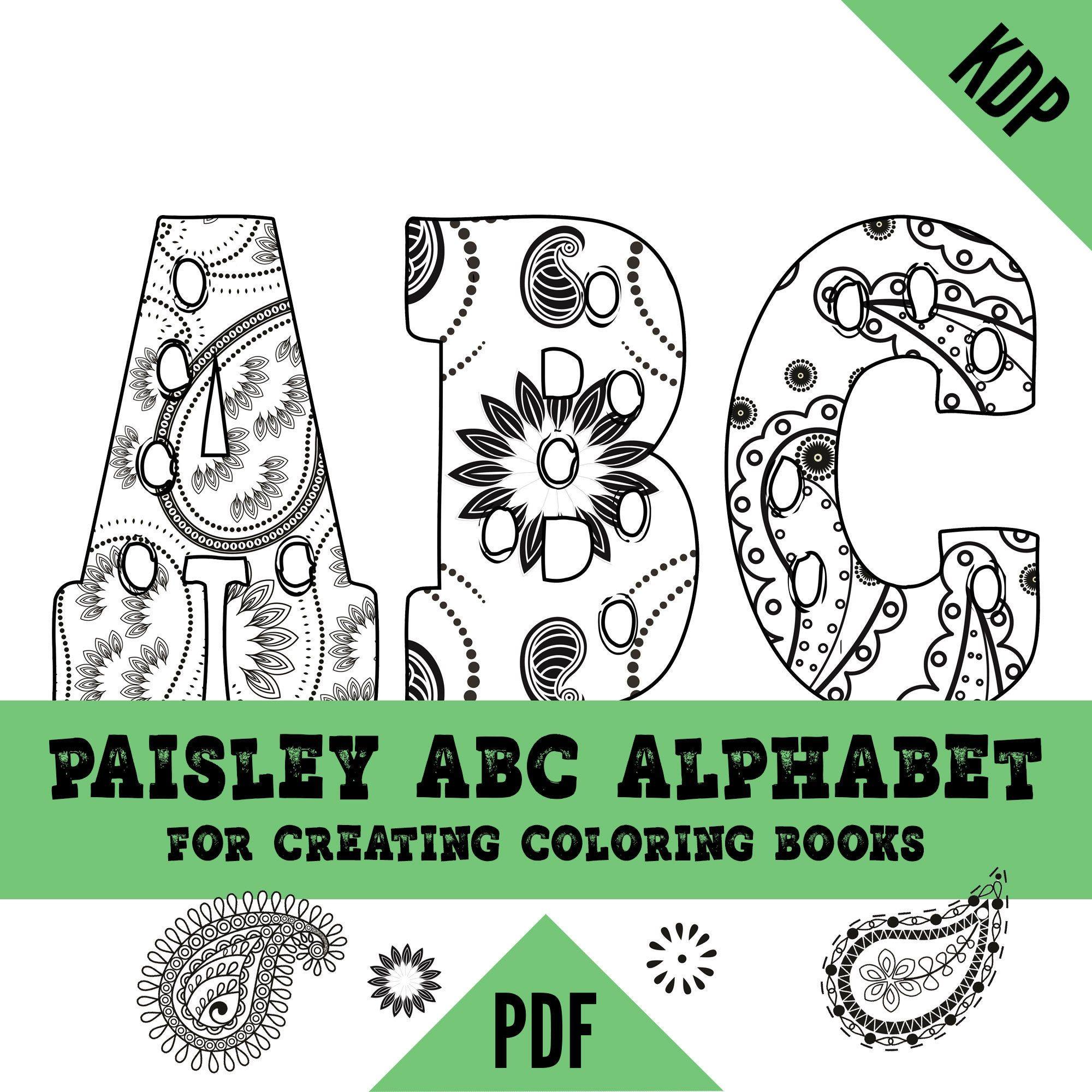 Kdp Alphabet Paisley Coloring Pages Sheets Pdf Abc Letters Etsy Paisley Coloring Pages Coloring Pages Paisley Color