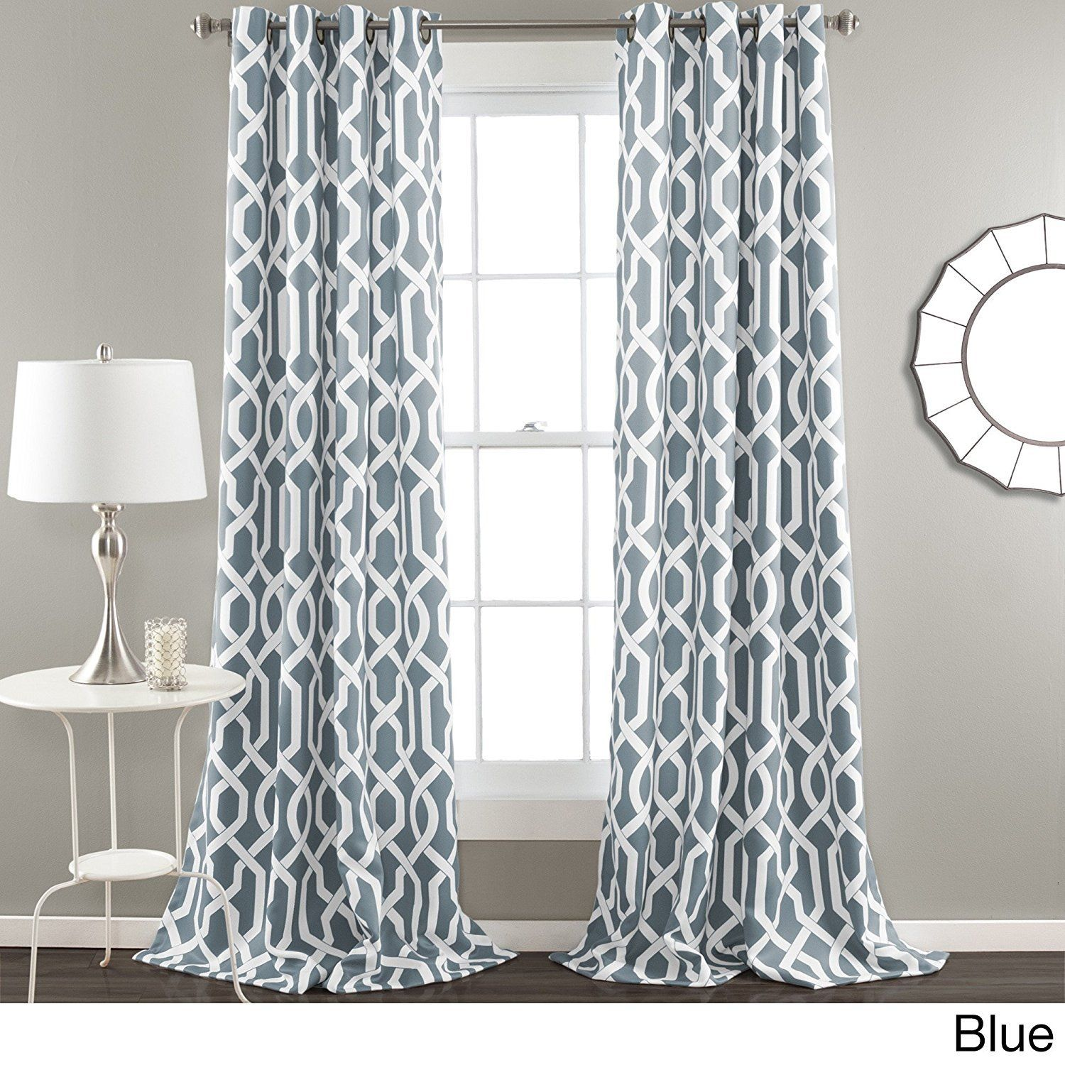 84 Inch Steel Blue White Moroccan Curtains Panel Pair Set Blue