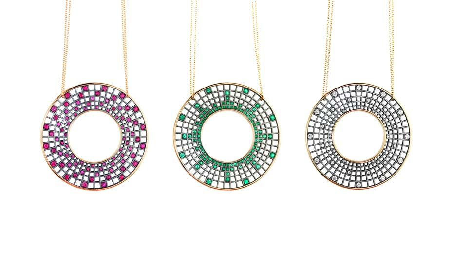 17fde362b84cca Roule Co Halo pendants with either rubies, emeralds or white diamonds.
