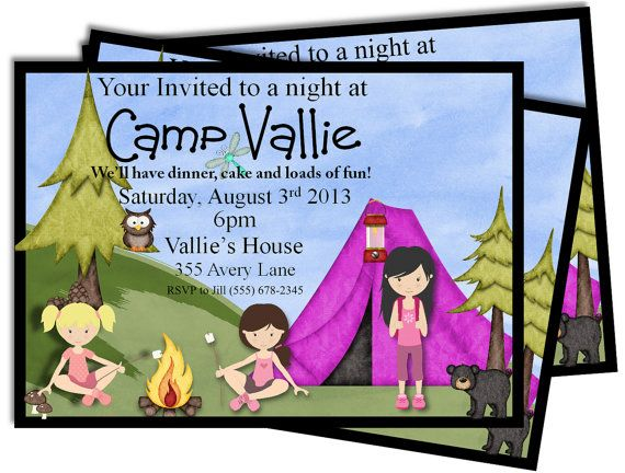 Girly Camping Party Invitations Printable Free color change Camp DIY