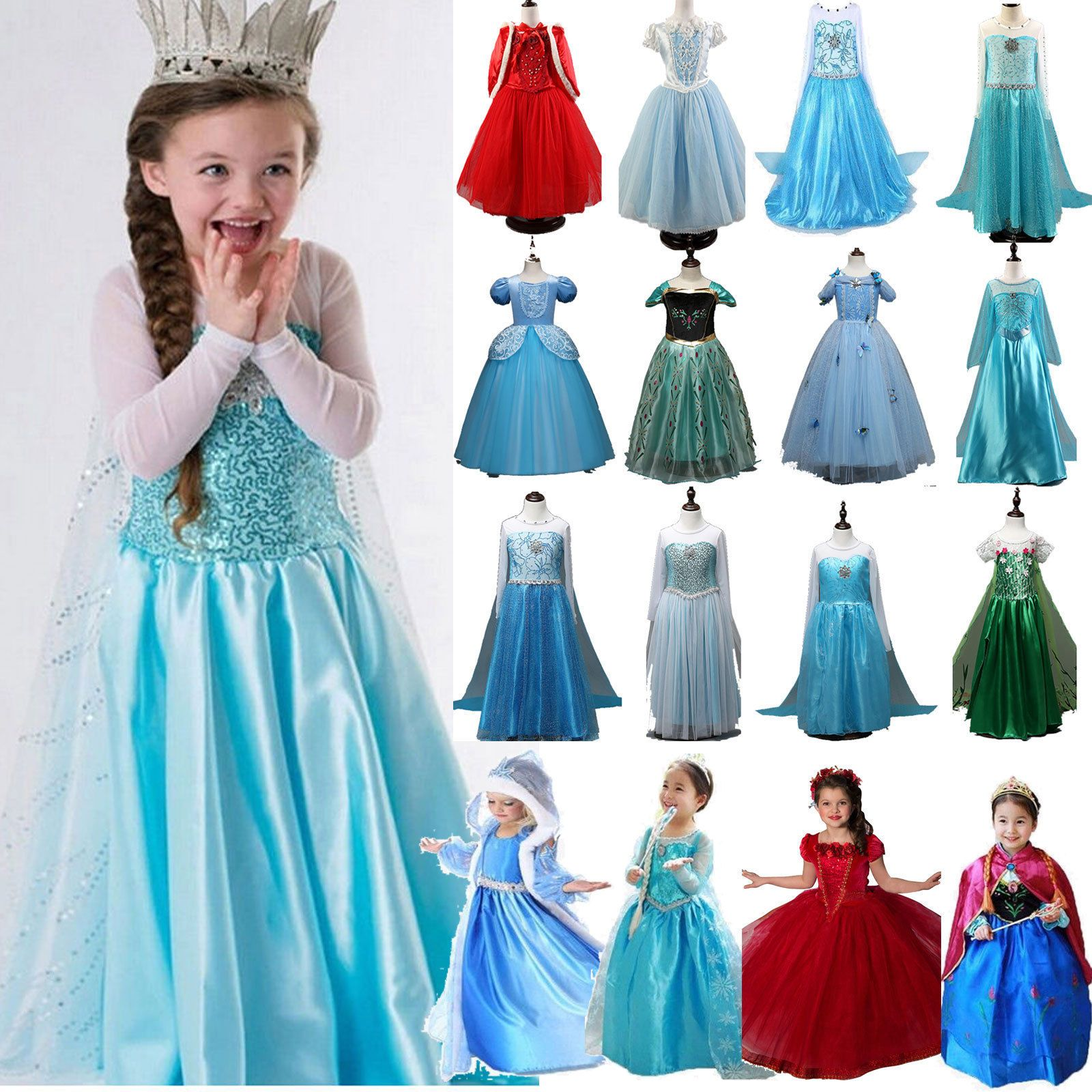 Kids Girls Party Costume Princess Fairytale Dress Up Elsa Fancy Tulle Tutu Dress