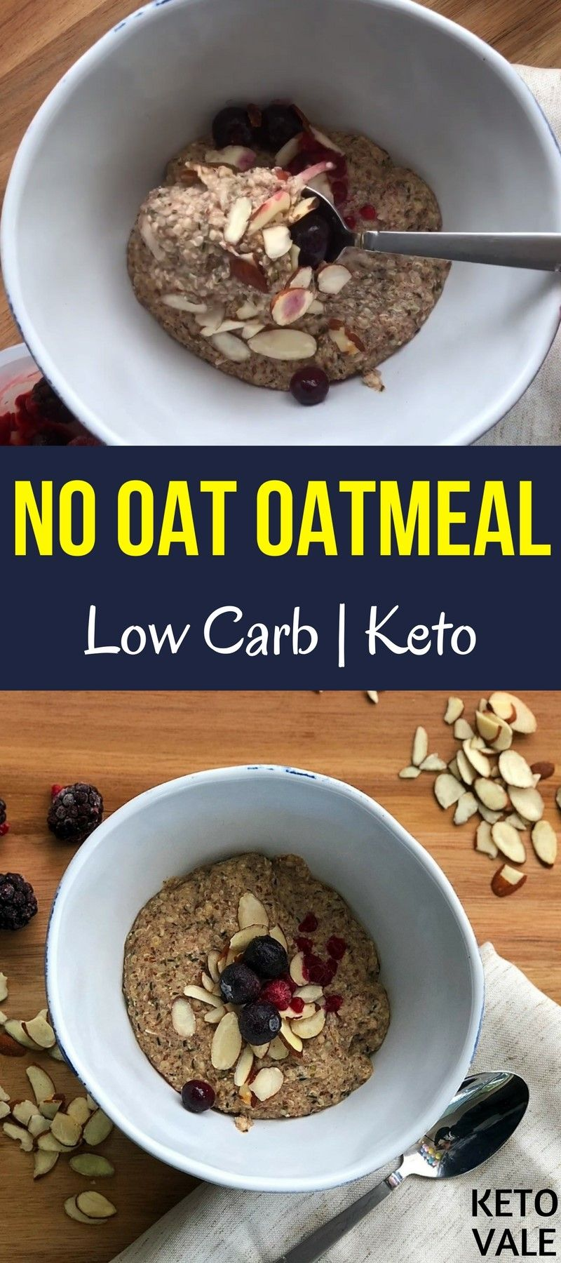 Low Carb Keto No Oats Oatmeal recipe with Flaxseed meal, Almond Milk, Hemp Hearts, Chia Seeds, MCT Oil #flaxseedmealrecipes