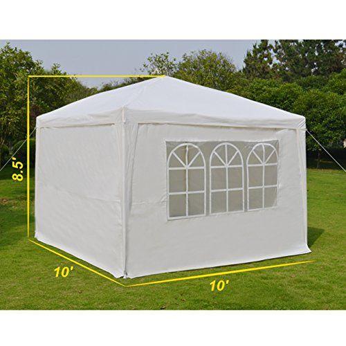 Ez Pop Up Wedding Party Tent 10 X10 Folding Gazebo Beach Canopy W Carry Bag With Sidewalls Side Panel Size L10 X W10 Party Tent Beach Canopy Gazebo Canopy