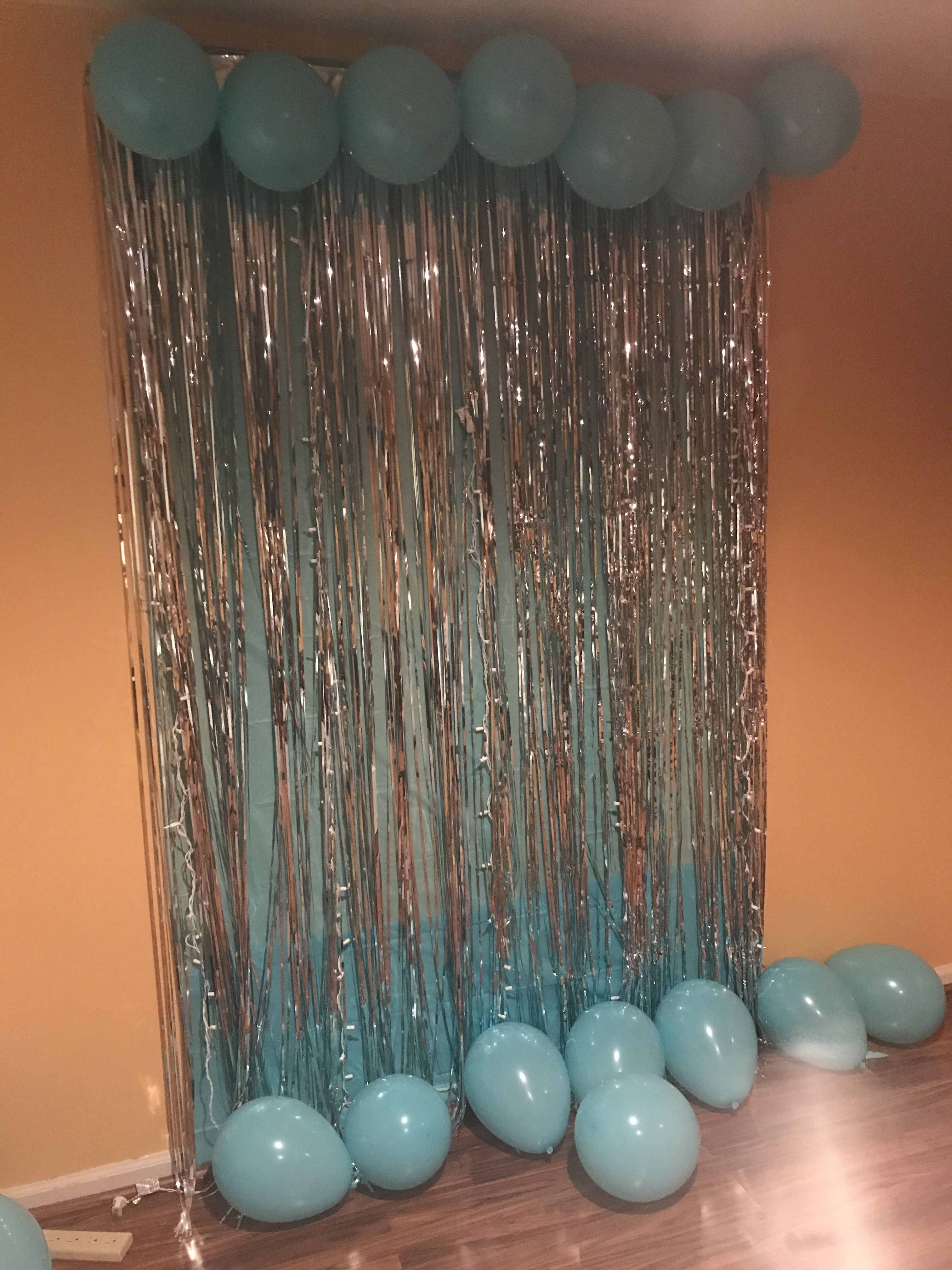 My 18th Birthday Photo Wall I Used A Tiffany Blue Table Cover White Christmas Lights Tw Tiffany Blue Party Blue Birthday Parties Tiffany Blue Birthday Party