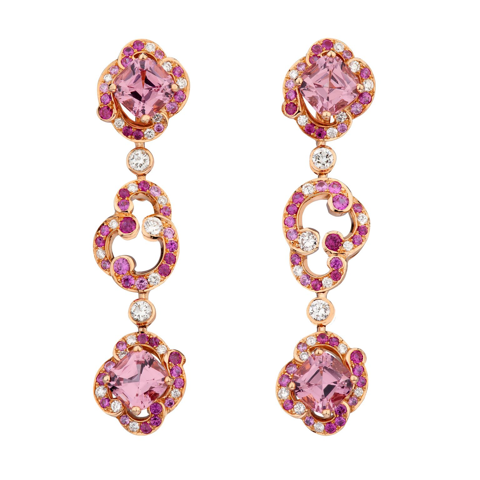 Fabergé Rococo Pink Spinel Long Earrings #Fabergé #Rococo #spinel #earrings
