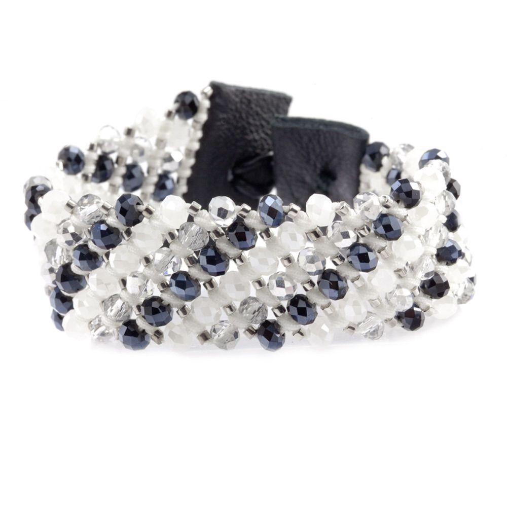 Grey Mix Crystal Cuff Bracelet on Black Leather - Chan Luu