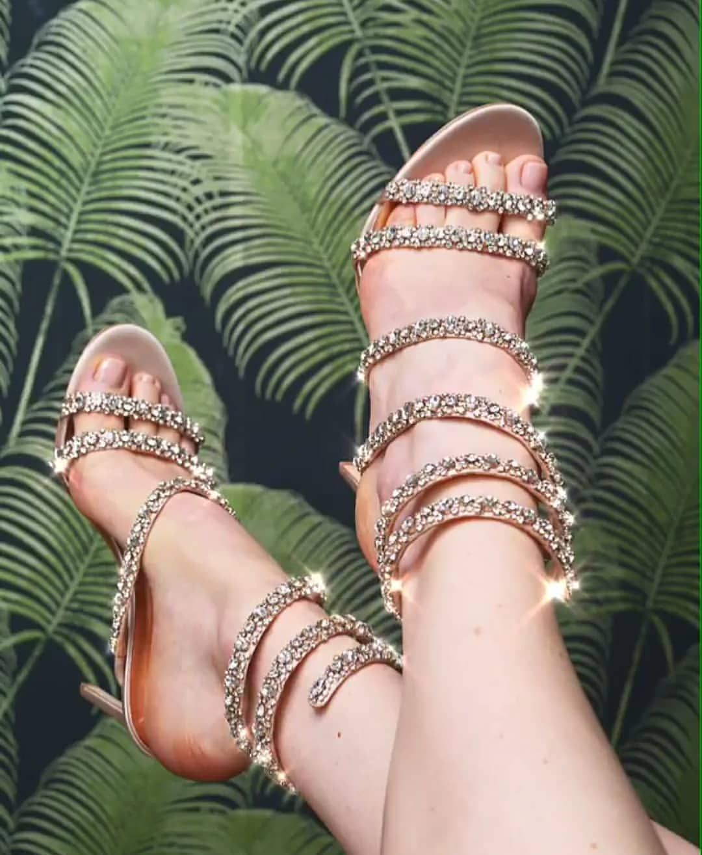 badgleymischka Peace Crystal Ankle Wrap Sandal   Ankle wrap