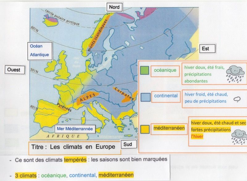 carte europe climat