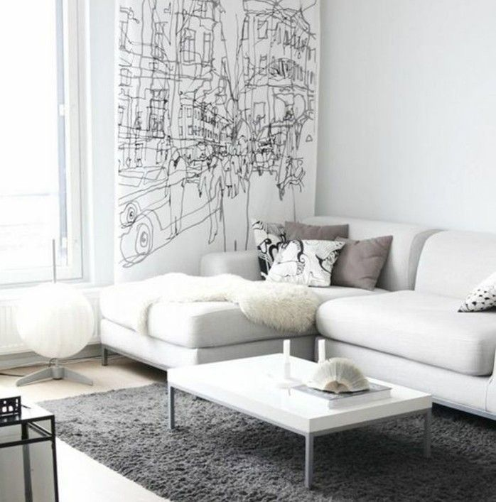 Genial Magnifique Salon Gris Et Blanc, Couleur Peinture Salon Blanc Et Canapé Blanc,  Tapis Gris
