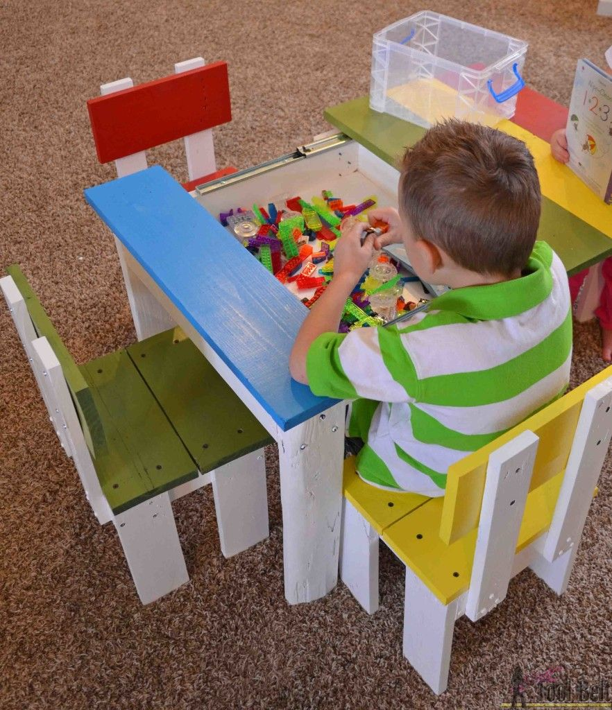 Build An Easy Kids Table And Chair Set With A Sliding Top To Store Legos Free Plans