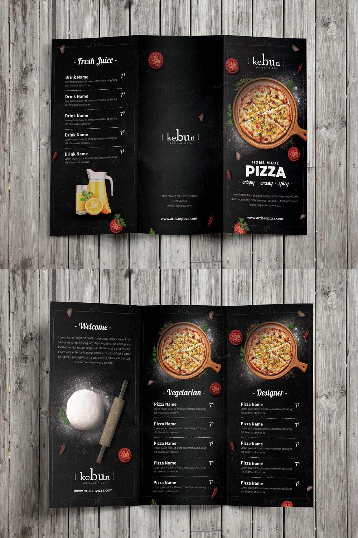 Pizza Menu Trifold Brochure Template PSD Brochure Templates - Menu brochure template