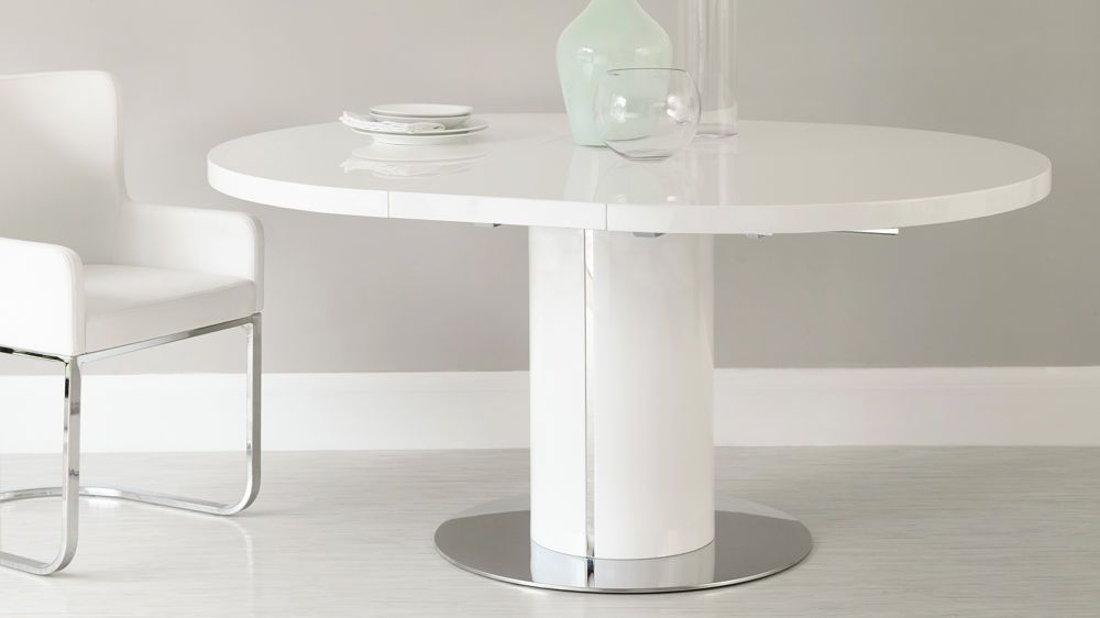 Curva Round White Gloss Extending Dining Table Extendable Dining